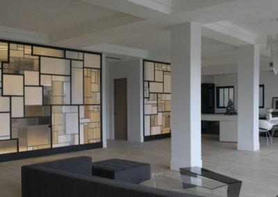 claustra mur rideau verre moucharabieh ON-ME Cloison Créative Lumineuse vitrail - Equilibre - 03.2 réalisation - lumière 0208 BIS